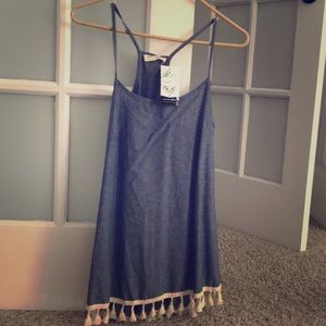 Denim blue fringe tank, WITH TAGS